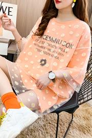B9540【实拍】网纱短袖T恤女新款印花宽松中长款韩版上衣(6535)