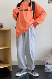 实拍563#(6535鱼鳞)灰色学生字母刺绣运动裤高腰直筒宽松阔腿裤