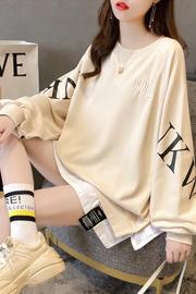 2312#(25棉75涤)5色活性布韩版假两件薄款小卫衣女【实拍】