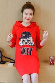 长袖t恤女学生韩版宽松连帽卫衣裙中长款大码连衣裙秋季长款上衣