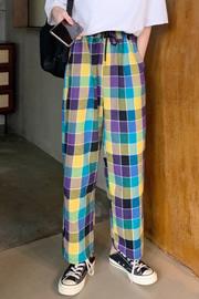 193#实拍好质量100%涤纶 阔腿格子裤女夏宽松休闲拖地直筒运动裤