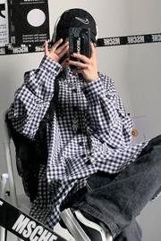 【实拍控价40¥】复古暗黑百搭格子衬衫长袖衬衣男女潮