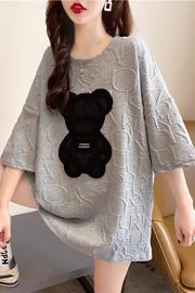 K1136(实拍特价)短袖t恤女夏2021新款宽松韩版中长上衣大码女装