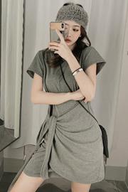 #551实拍 法式气质显瘦t恤裙子女小众设计感绑带不规则连衣裙休闲