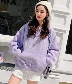 A9#(实拍 250g卫衣)紫色卫衣慵懒风松松垮垮加绒卫衣女连帽外套