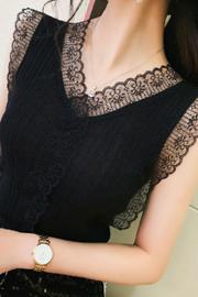 夏季吊带背心女简约外穿潮针织新款西装内搭蕾丝秋季打底衫设计感