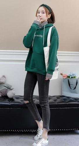 899#【实拍#现货】时尚新款韩版加绒刺绣假两件卫衣女学生
