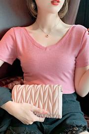 2021夏装新款洋气内搭性感锁骨修身上衣短袖t恤女潮(前后两穿)