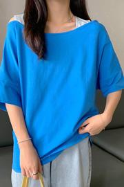 3066#【6535棉实拍】设计感心机露肩短袖T恤女宽松显瘦锁骨夏