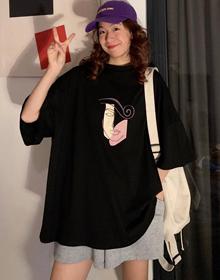 627#(实拍图65/35拉架棉)短袖T恤女宽松印花超火cec下衣失踪ins潮