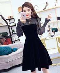 秋冬长袖连衣裙新款女温柔风chic小黑裙显瘦网纱丝绒吊带裙两件套