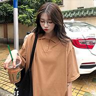 1302#【实拍图】6535  可爱polo衫翻领短袖T恤女刺绣