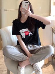 【实拍】#939  猪猪套装女张大奕同款可爱宽松T恤+休闲哈伦裤两件套