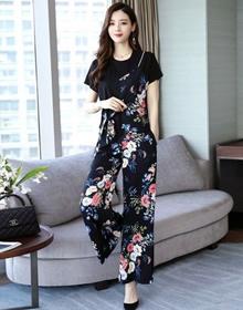 休闲套装女夏季2021新款韩版宽松时髦气质女神大码阔腿裤两件套潮