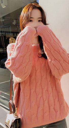 620# 林珊珊冬新款宽松针织打底衫糖果色系粗麻花情侣毛衣多色