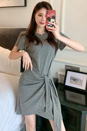 933【实拍】港风闺蜜装t恤裙小个子裙子收腰绑带显瘦复古连衣裙女