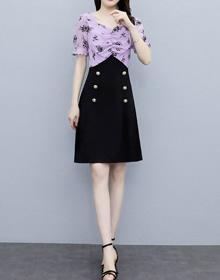 连衣裙2021夏季新款短袖大码女装雪纺印花木耳花边修身中长裙子
