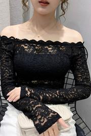 欧洲站2020秋季新款修身性感一字领镂空蕾丝上衣女长袖打底衫潮