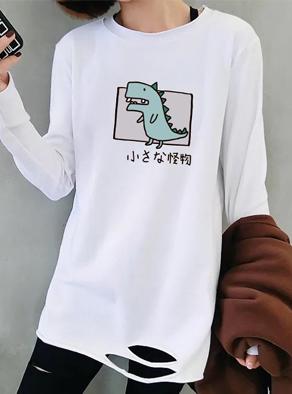 7391#白色t恤女2019秋季新款韩版宽松下摆破洞内搭中长款打底衫