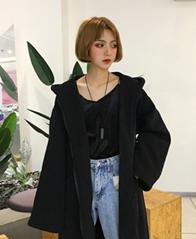 604#加绒实拍 秋冬季韩版女加绒长款过膝大码bf风外套女宽松显瘦
