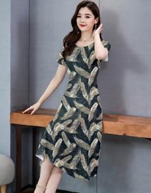 印花大摆连衣裙2020春夏新款时尚宽松显瘦韩版女士过膝长裙子