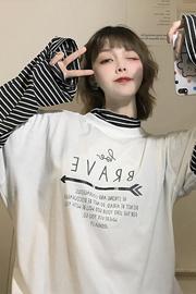 1399#【实拍图】6535拉架  假两件条纹t恤女