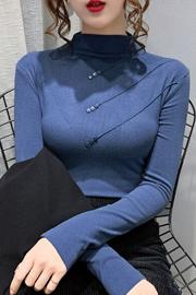 纯棉打底衫女春秋冬半高领长袖t恤2020新款百搭加绒洋气德绒内搭