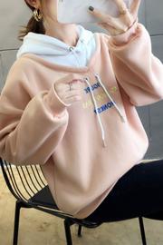 加绒加厚冬季连帽穿绳卫衣女【实拍】(100聚酯纤维)8605#