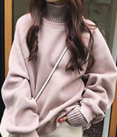 #Y13 高领卫衣女秋冬ulzzang假两件加绒外套韩版潮学生上衣