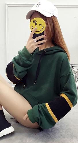 825#连帽卫衣女韩版潮学生加绒加厚宽松套头女装