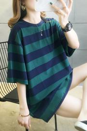 8810#【实拍】2020春夏装宽松半袖纯棉网红条纹t恤女 95%棉5氨纶