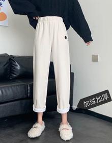 复古加绒加厚直筒裤子女秋冬2020新款韩版宽松高腰显瘦九分休闲裤