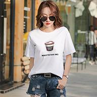 1903#实拍(1.25出货)纯棉卡通印花圆领短袖T恤女(95棉 5氨纶)