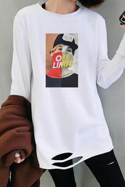 【官图】3017#180双磨牛奶丝 t恤女韩版长袖宽松下摆破洞打底衫