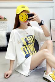 8910#(6535)韩版中长款INS短袖T恤女【实拍】