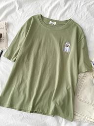 【官图1004#】网红新款刺绣短袖t恤夏季女装韩版百搭圆领打底