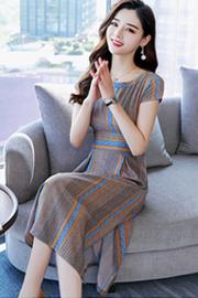 603#夏季新款韩版冷淡风连衣裙女装气质中长款收腰短袖条纹裙子潮