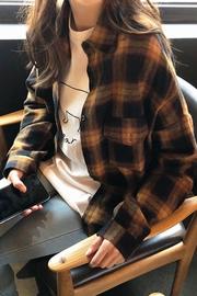格子衬衫女2019新款chic早秋上衣女长袖港味复古中长款慵懒衬衣服