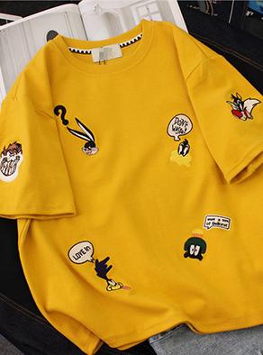 762#【6535棉】字母卡通刺绣短袖T恤圆领打底衫女夏装(官方图)