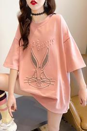 K1146(实拍实价)夏季新款宽松韩版圆领百搭短袖t恤大码女装学生