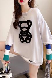 K1155 (实拍实价) 双面德绒 2021春新款圆领拼接针织长袖T恤女
