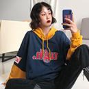 秋冬季女装韩版字母拼接宽松连帽套头卫衣  1822# 实拍有小视频
