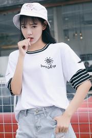 629 (实拍)(四码已出)6535棉好棉质2019新春秋装假两件T恤