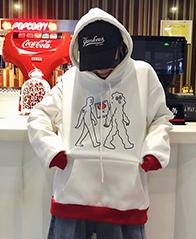 221# 韩国ins超火上衣卡通撞色加绒加厚连帽卫衣女学生