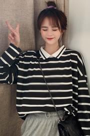 220# 实拍 长袖条纹T恤女学生韩版2020春季新款POLO领打底衫上衣
