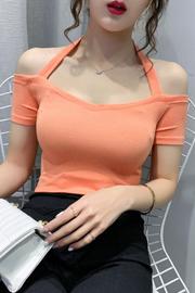 2021夏新款露肩挂脖一字领短袖修身性感上衣T恤(40支罗纹三色)