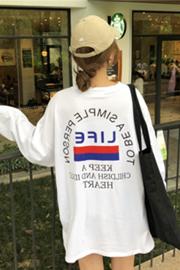 371秋季新款字母印花韩版宽松中长款学生百搭长袖上衣t恤
