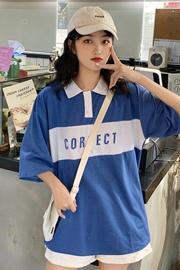 实拍图【6535棉】韩版BF原宿风POLO衫拼接短袖T恤上衣学生女