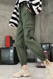 941 hiphop工装裤秋冬束脚bf嘻哈学生韩版加绒加厚宽松