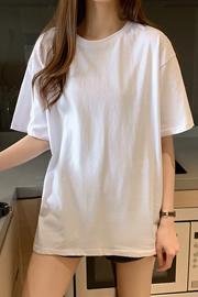 无后包26支170克纯棉中长款纯色光白版T恤女宽松大码【官方图】
